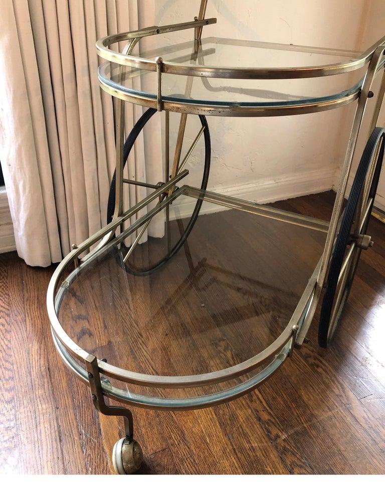 Italian Mid-Century Modern Brass Bar Cart For Sale 1