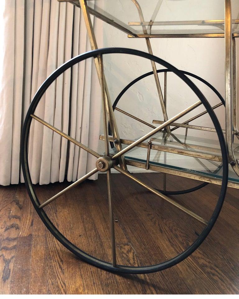 Italian Mid-Century Modern Brass Bar Cart For Sale 3