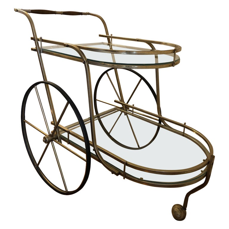 Italian Mid-Century Modern Brass Bar Cart For Sale