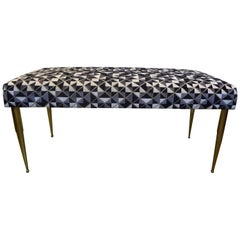 Italian Mid-Century Modern Brass Bench Inspired by Gio Ponti