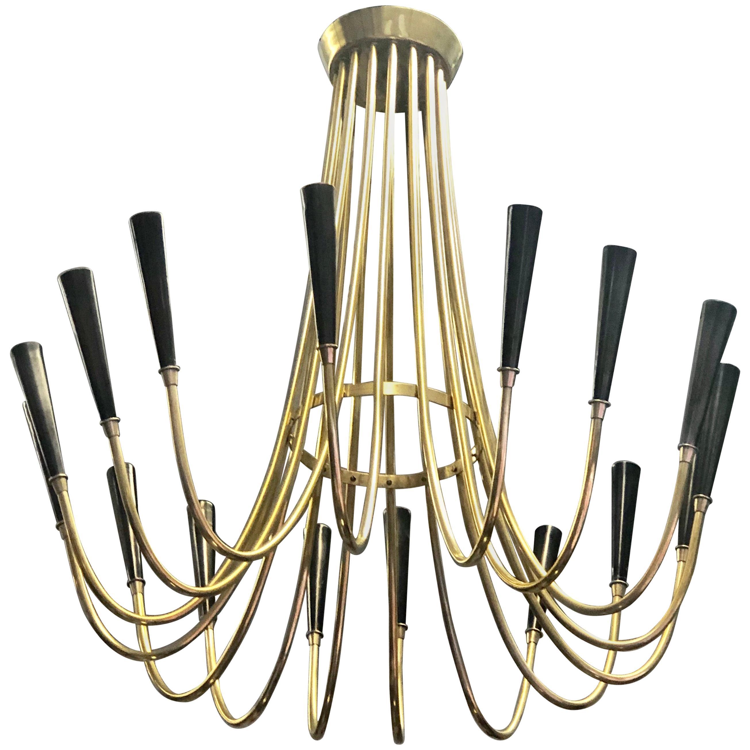 Italian Mid-Century Modern Brass Chandelier Attribute to Ulrich
