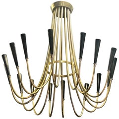 Italian Mid-Century Modern Brass Chandelier Attribute to Ulrich