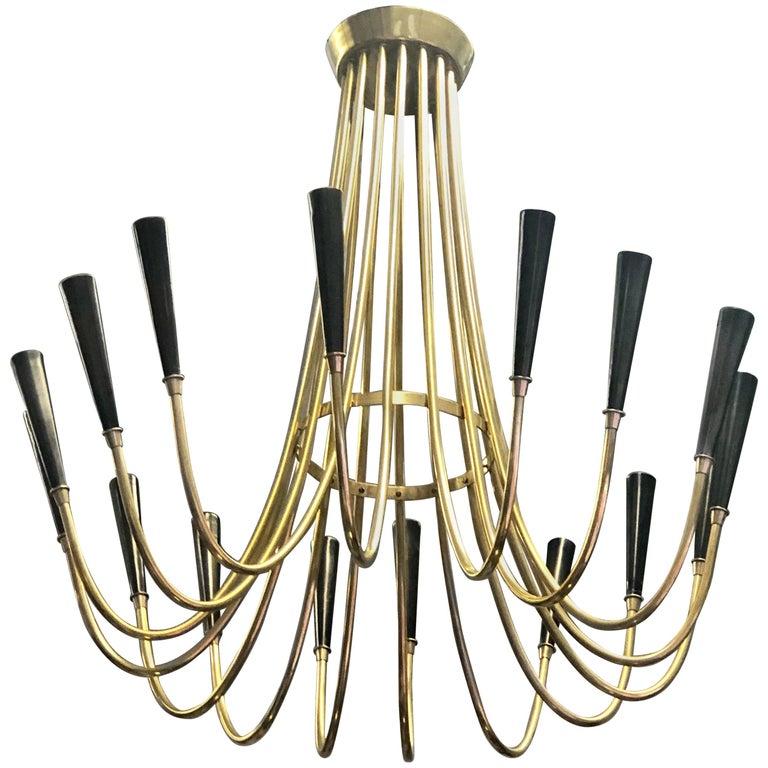 Italian Mid-Century Modern Brass Chandelier Attribute to Ulrich For Sale