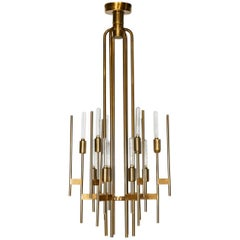 Italian Mid-Century Modern Brass Chandelier, by Gaetano Sciolari, 1960s