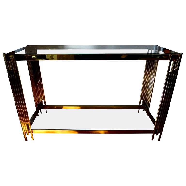 Italian Mid-Century Modern Brass Console Table For Sale