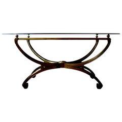 Italian Mid-Century Modern Brass Console Table with Greek Key Design