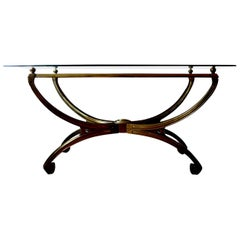 Italian Mid-Century Modern Brass Console Table with Greek Key Design