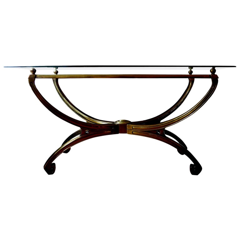 Italian Mid-Century Modern Brass Console Table with Greek Key Design For Sale