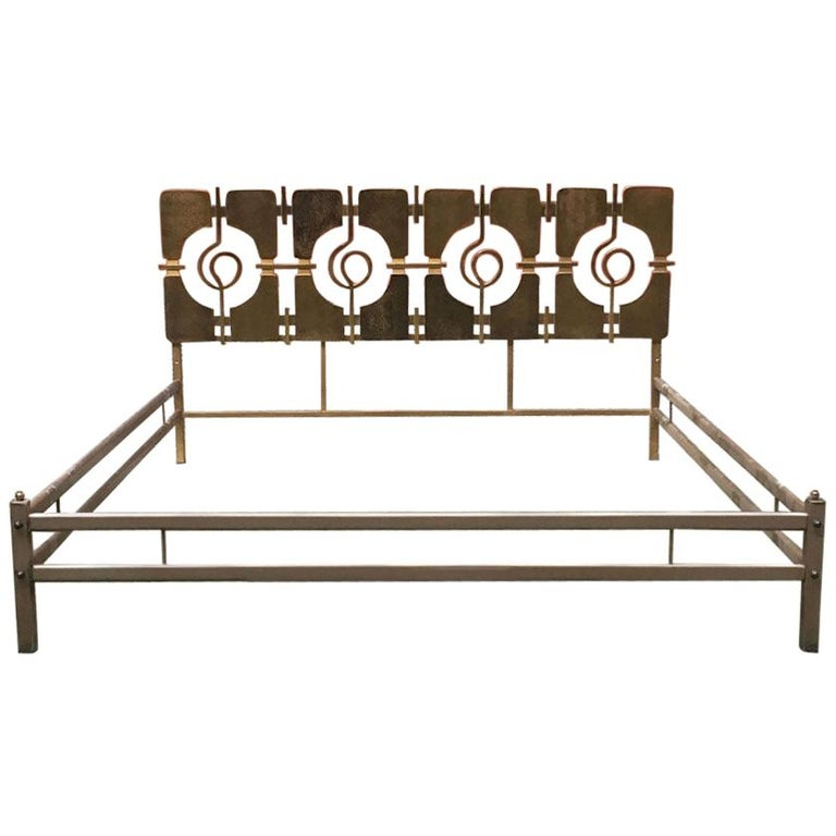 Italian Mid-Century Modern Brass Double Bed with Decorative Headboard, 1960s For Sale