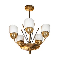 Italian Mid-Century Modern Brass, Enamel and Frosted Glass Five-Arm Chandelier
