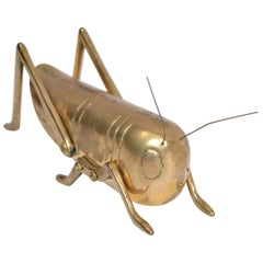 Italian Mid-Century Modern Brass Grasshopper Sculpture, Animal Sculpture, 1970