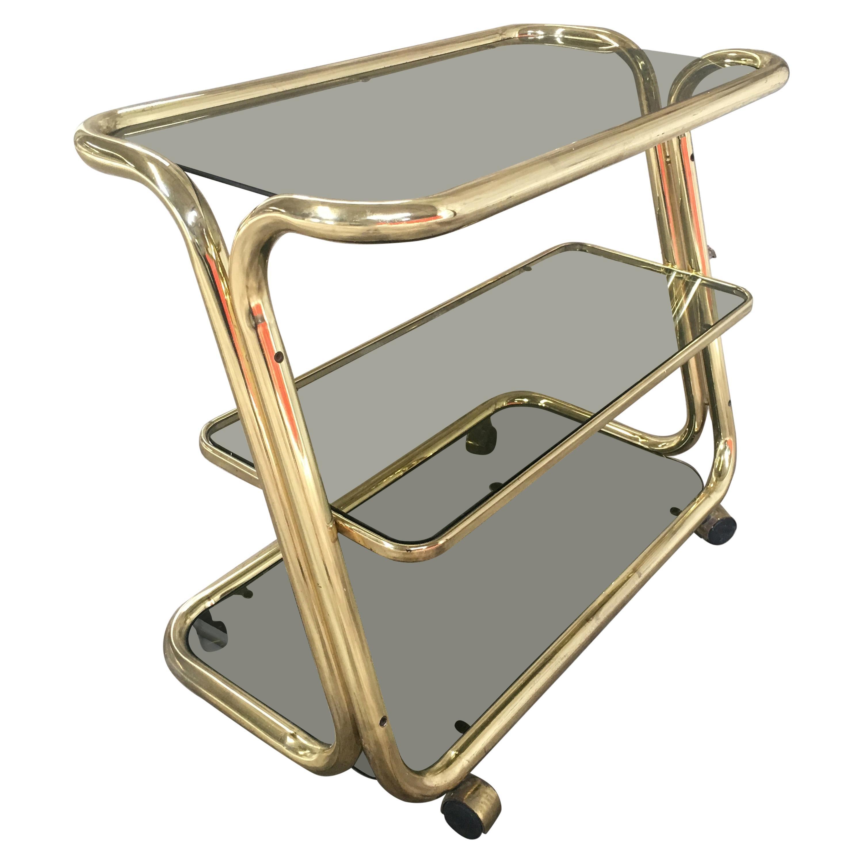 Italian Mid-Century Modern Brass Metal Bar Cart with Smoked Glass Shelves, 1970s