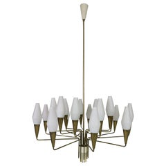 Italian Mid-Century Modern Brass and Opaline Glass Chandelier Extra Large, 1960
