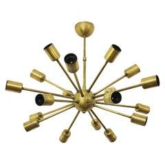 Italian Mid-Century Modern Brass Sputnik Chandelier, 1970s