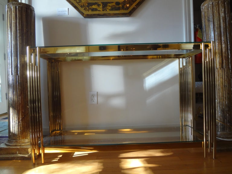 Italian Mid-Century Modern Brass Console Table For Sale 6