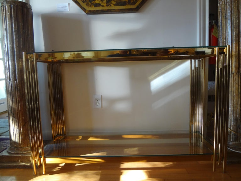Italian Mid-Century Modern Brass Console Table In Good Condition For Sale In Houston, TX