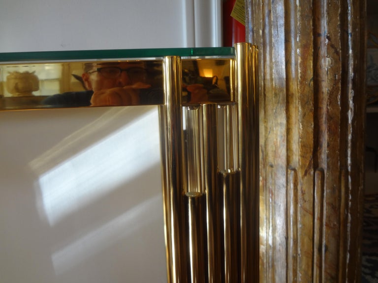 Glass Italian Mid-Century Modern Brass Console Table For Sale