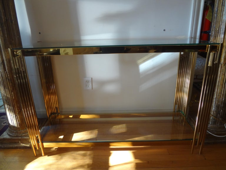 Italian Mid-Century Modern Brass Console Table For Sale 2