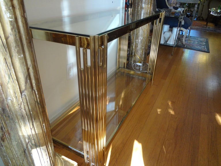 Italian Mid-Century Modern Brass Console Table For Sale 3