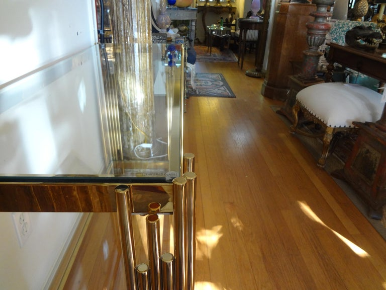 Italian Mid-Century Modern Brass Console Table For Sale 4