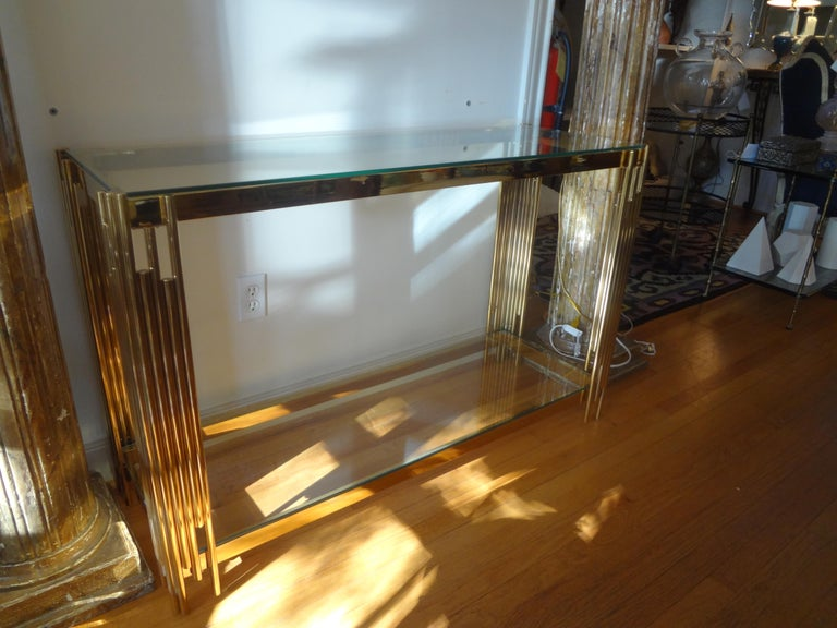 Italian Mid-Century Modern Brass Console Table For Sale 5