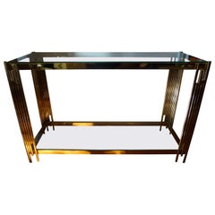 Italian Mid-Century Modern Brass Two-Tiered Console Table