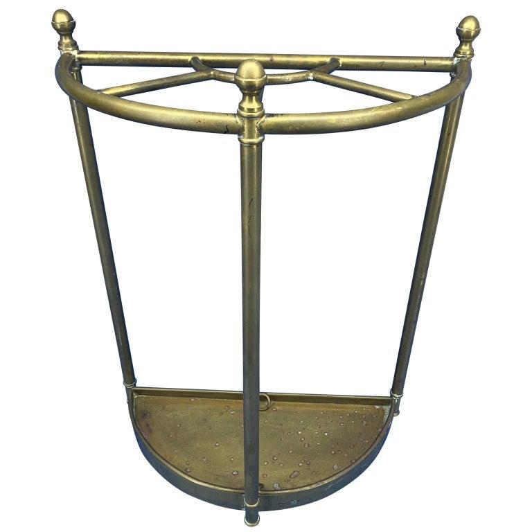 Italian Mid-Century Modern Brass Umbrella Stand For Sale