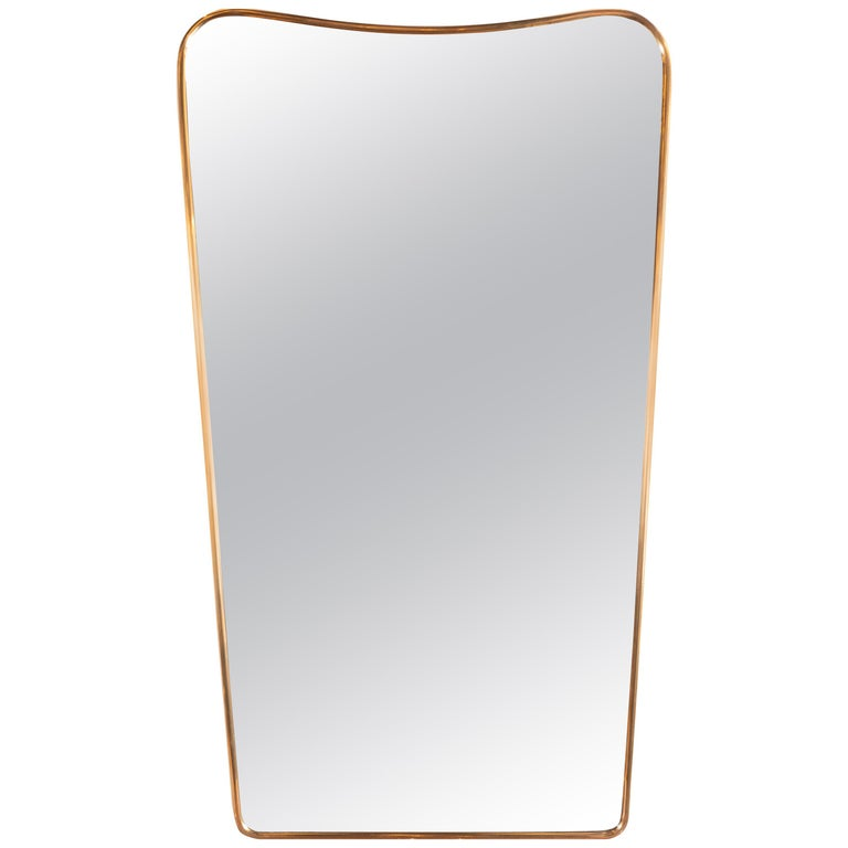 Italian Mid-Century Modern Brass Wrapped and Bowed Shield Form Mirror For Sale