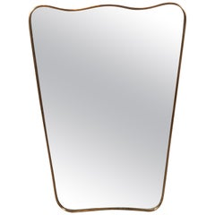 Italian Mid-Century Modern Brass Wrapped Shield Mirror with Scalloped Top