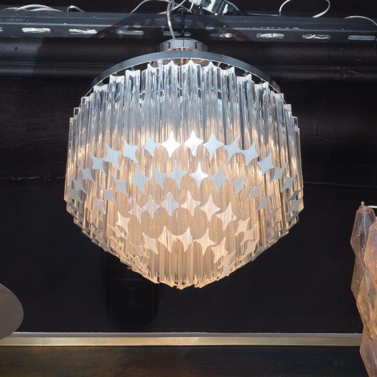 Italian Mid-Century Modern Camer Chandelier with Chrome Detailing In Excellent Condition For Sale In New York, NY