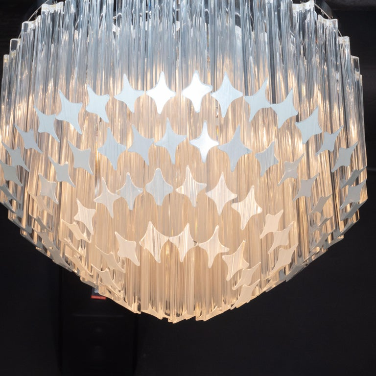 Late 20th Century Italian Mid-Century Modern Camer Chandelier with Chrome Detailing For Sale