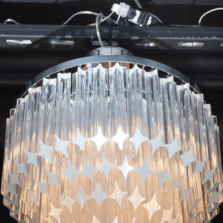 Cut Glass Italian Mid-Century Modern Camer Chandelier with Chrome Detailing For Sale