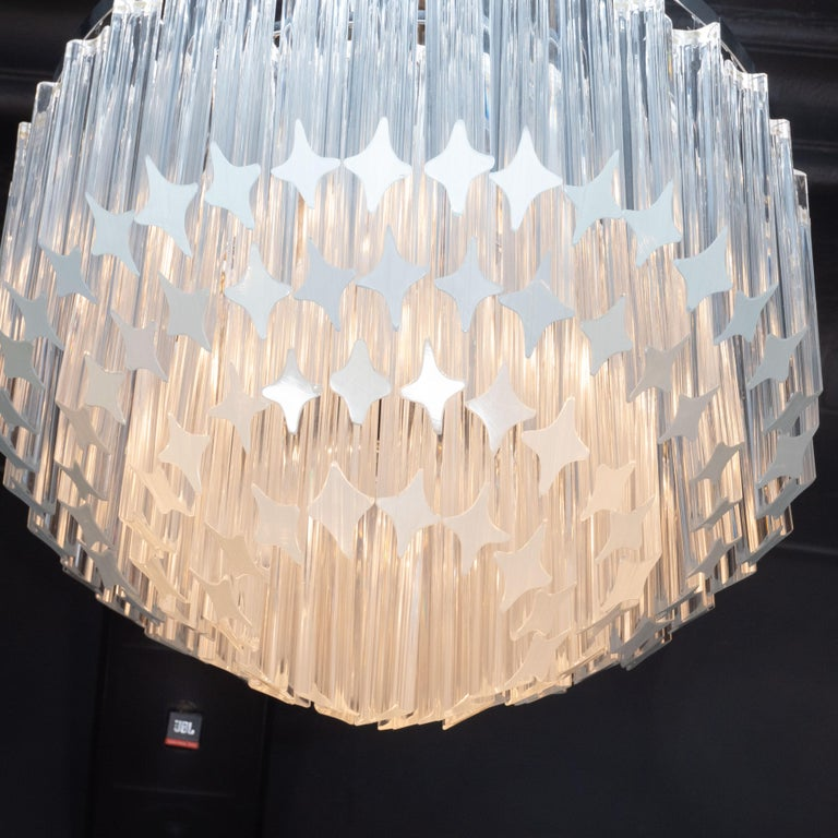 Italian Mid-Century Modern Camer Chandelier with Chrome Detailing For Sale 2