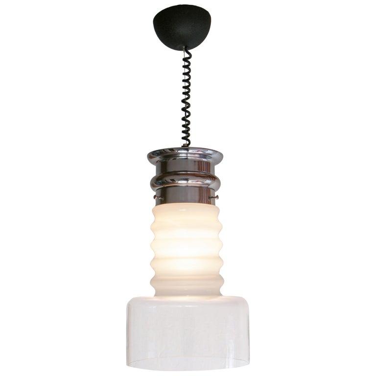 "Italian Mid-Century Modern Carlo Nason ""Space Age"" Pendant Lamp, 1970s For Sale"