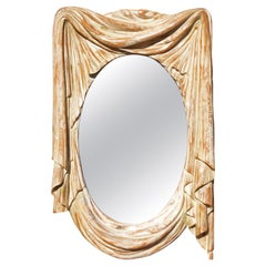 Italian Mid-Century Modern Carved Wall Mirror