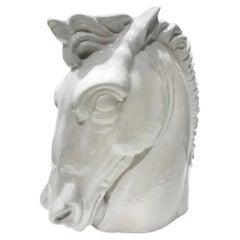 Italian Mid-Century Modern Ceramic Horse Sculpture in White, circa 1970s