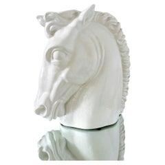 Italian Mid-Century Modern Ceramic Roman Horse Sculpture in White, circa 1970s