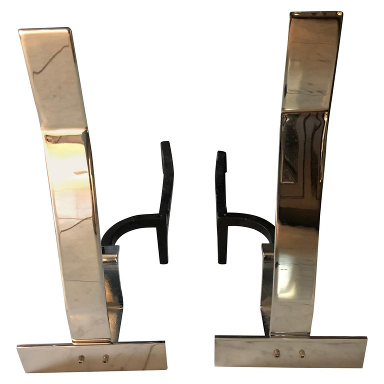 Italian Mid-Century Modern Chrome Andirons by Alessandro Albrizzi For Sale