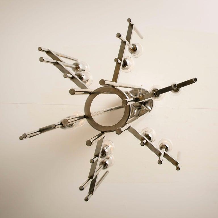 Italian Mid-Century Modern Chrome Chandelier by Gaetano Sciolari, 1960s For Sale 8