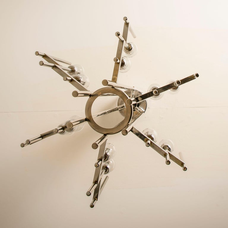 Italian Mid-Century Modern Chrome Chandelier by Gaetano Sciolari, 1960s For Sale 9