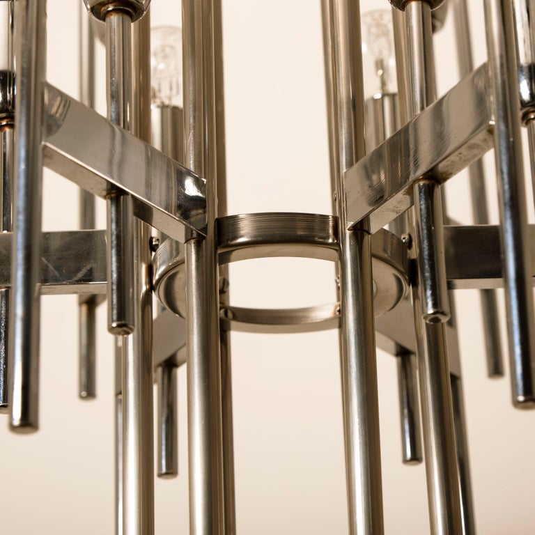 Italian Mid-Century Modern Chrome Chandelier by Gaetano Sciolari, 1960s For Sale 4
