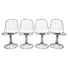 Italian Mid-Century Modern Chrome Swivel Dining Chairs Attributed to RIMA