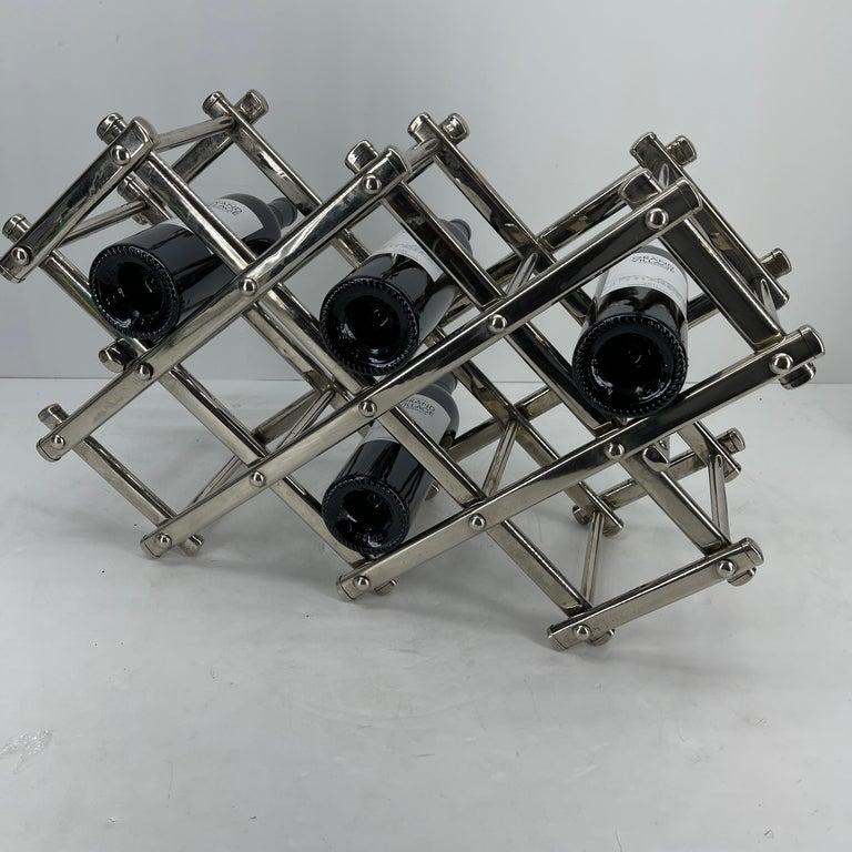 Italian Mid-Century Modern Chrome Wine Rack For Sale 5