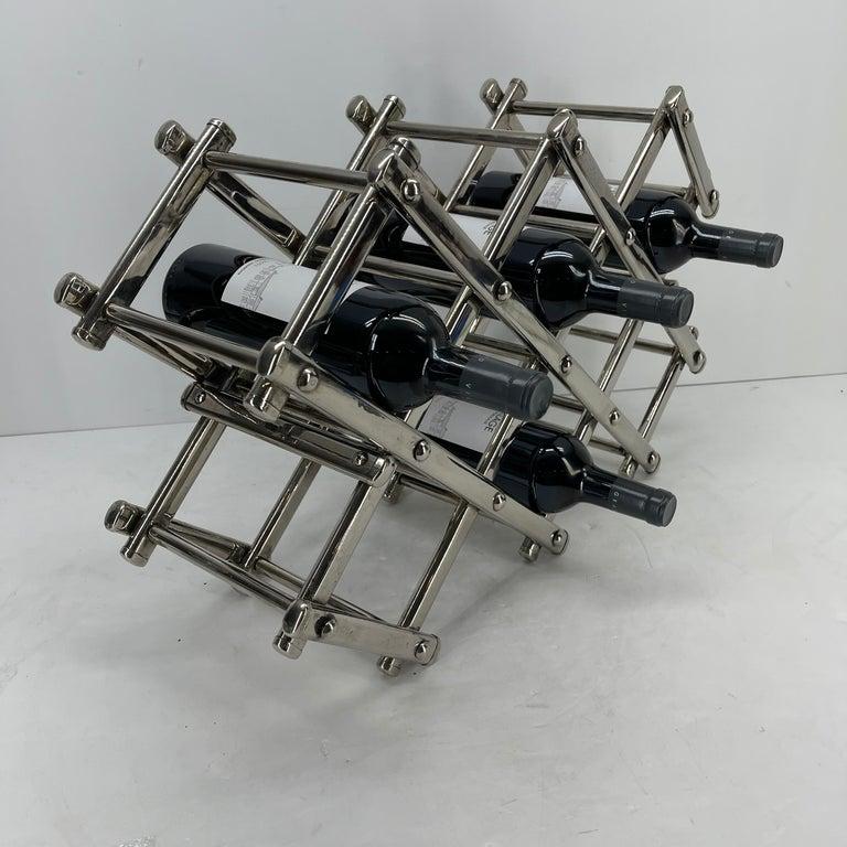 Italian Mid-Century Modern Chrome Wine Rack For Sale 3
