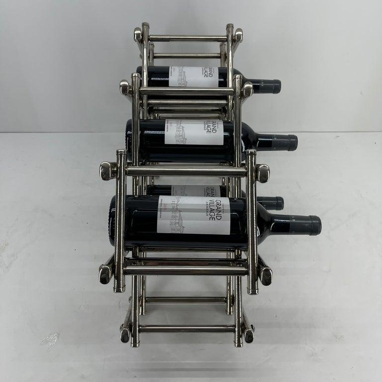 Italian Mid-Century Modern Chrome Wine Rack For Sale 4
