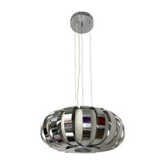 Italian Mid-Century Modern Chromed Chandelier with Steel Bands, 1970s