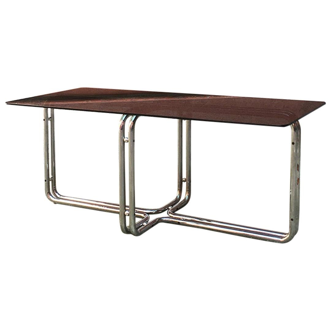 Italian Mid-Century Modern Chromed Dining Table with Smoked Top, 1970s