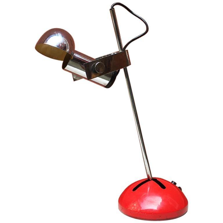 Italian Mid-Century Modern Chromed Steel Lamp by Robert Sonneman for Luci, 1970s