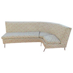 Italian Mid-Century Modern circa 1950s Corner Sofa with Brass Feet