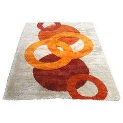 Italian Mid-Century Modern Circle Geometry Carpet, 1970s